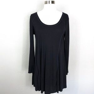 Lush | Black Ribbed Thermal Tunic Top
